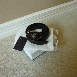 PRADA Saffiano Leather Oval Logo Buckle Belt 85cm